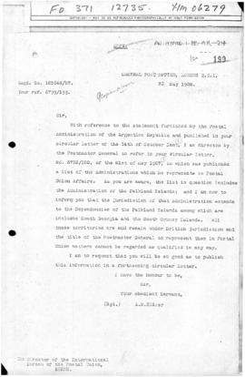 British note to the International Bureau of the Universal Postal Union affirming British title to...