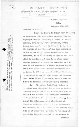British note to Norway concerning the Antarctic ands the Imperial Conference