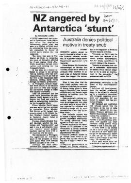 "Press article ""NZ angered by Antarctica 'stunt'"" The Dominion; and related articles between 1989-05-24 and 1989-05-29"