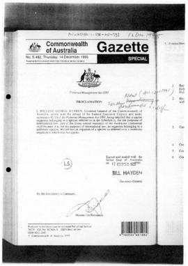 Commonwealth of Australia Gazette, Fisheries Management Act 1991, Proclamation