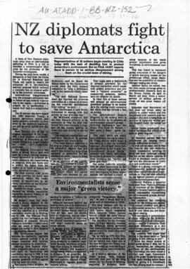 "Press article ""NZ diplomats fight to save Antarctica"" New Zealand Herald, and related articles"