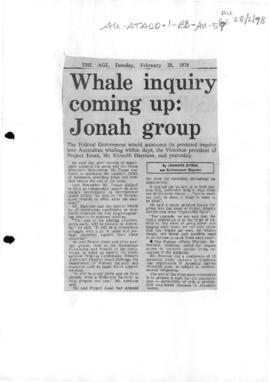 "Byrne, Jennifer ""Whale inquiry coming up: Jonah group"" The Age, Melbourne"