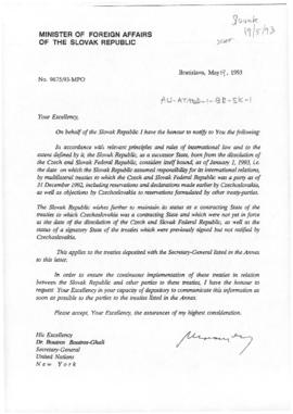 Slovak Republic, Minister of Foreign Affairs letter to the Secretary-General of the United Nation...
