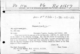 Norwegian note to the United Kingdom agreeing to the western boundary of the Norwegian claim prop...