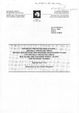 "Nineteenth Antarctic Treaty Consultative Meeting (Seoul) Working paper 5 ""Antarctic protecte..."