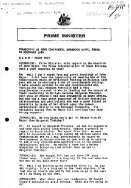 "Prime Minister, Australia (Bob Hawke) ""Transcript of News Conference"" concerning Antarctic environment initiative"
