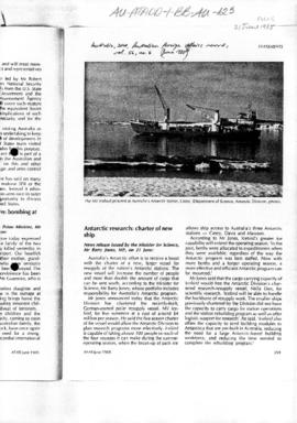 "Jones, Barry, MP, news release Australian Foreign Affairs Record, ""Antarctic research: charter of new ship"" vol 56, no. 6"