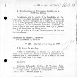 Decree no. 118 appointing a Naval Governor of the Chilean Antarctic Territory