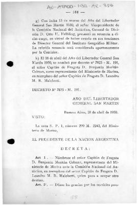 Argentina, Decree 7825 replacing a representative of the Ministry of the Navy on the National Ant...