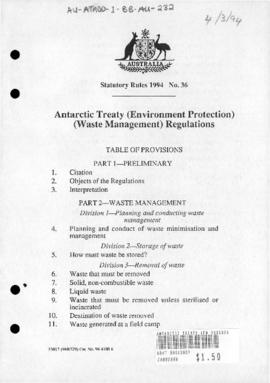 Antarctic Treaty (Environment Protection) Waste Management) Regulations