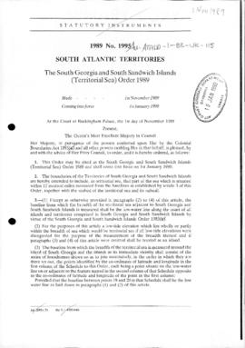 UK South Atlantic Territories 1989 No. 1995. The South Georgia and South Sandwich Islands (Territ...