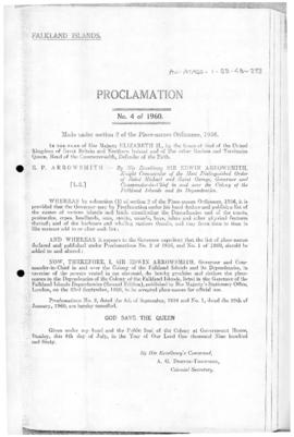 Falkland Islands, Proclamation under the place-names Ordinance, no 4 of 1960