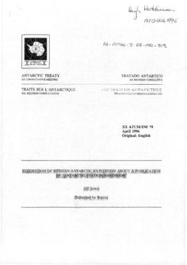 "Twentieth Antarctic Treaty Consultative Meeting (Utrecht) Information paper 78 ""Suggestion of Russian Antarctic Expedition about a publication of Antarctic Station Handbook"" (XX ATCM/INF 78) (Russian Federation)"