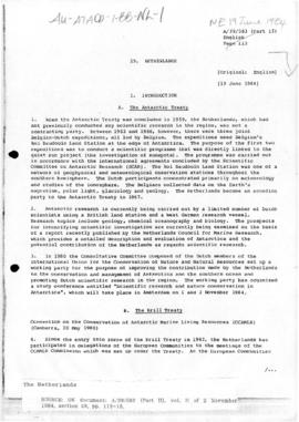 Netherlands and the Antarctic Treaty, United Nations General Assembly, document A/39/583(Part II)