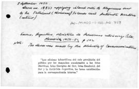 Argentina, Decree 18837 applying inland rates to telegrams in the Islas Malvinas and Antarctic territories
