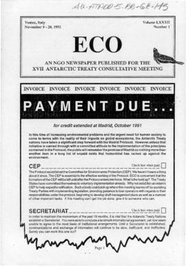 "Environment campaign newsletters, ""Payment due"", ""A look at COMNAP's revised practical guidelines on EIA"" (and others) ECO Vol LXXXII (1) (2) (3) and (4)"