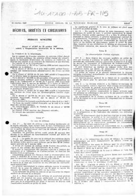 France, Decree no. 67-897 concerning territorial organisation of defence