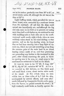 Account of Sir James Clark Ross taking possession of Franklin Island, Ross Sea