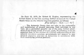 United States statement on claims to sovereignty and the exploitation of Antarctic mineral resources