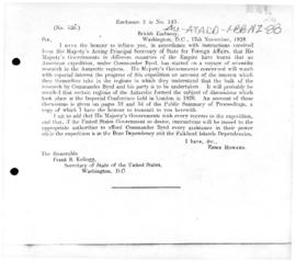 British note to the United States of areas Commander Byrd's to areas claimed by the UK