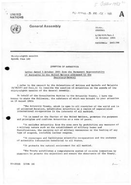 United Nations General Assembly, Thirty-Eighth Session, Question of Antarctica - letter from Aust...