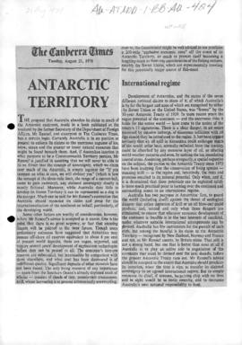 "Editorial ""Antarctic Territory"" The Canberra Times"