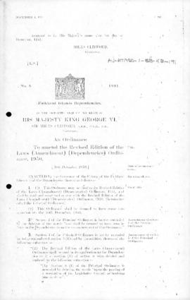 Falkland Islands Dependencies, Revised Edition of the Laws (Amendment) (Dependencies) Ordinance, no 8 of 1951