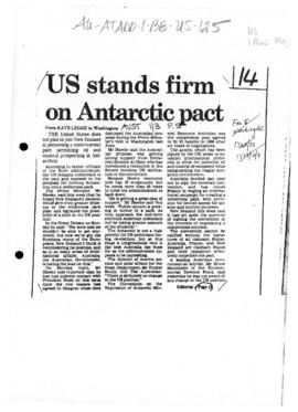 "Press article ""US stands firm on Antarctic pact"" Kate Legge, and related article"