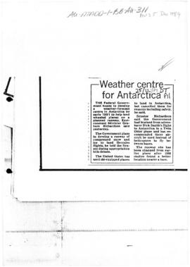 """Weather centre for Antarctica"" Daily Telegraph"