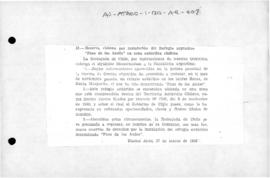 "Chilean reservation of rights following establishment of Argentine shelter ""Paso de los Andes"" in  Chilean Antarctic Territory; and Argentine reply"