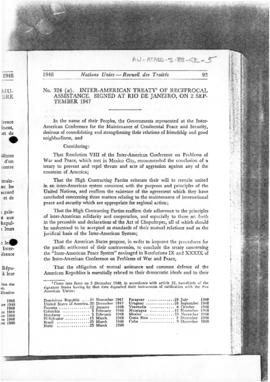 Inter-American Treaty of Reciprocal Assistance, signed at Rio de Janeiro on 2 September 1947 as amended (extracts) and national statements