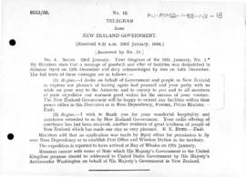 Telegram to Admiral Byrd offering New Zealand assistance