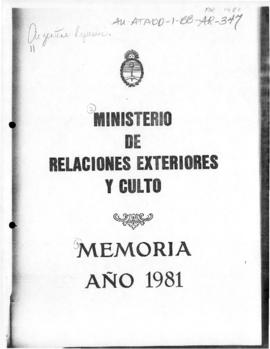 Argentina, Ministry of Foreign Affairs and Worship, Memoria 1981, General Direction on Antarctica...