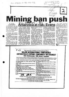 "Press article ""Mining ban push - Antarctica at risk: Evans"" The Sun"