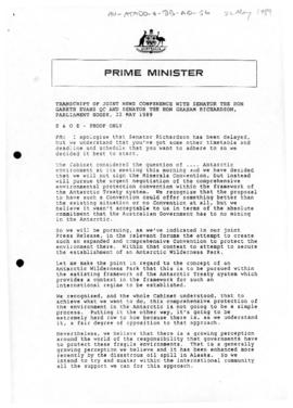 Australia, Prime Minister Bob Hawke, Transcript of Joint News Conference with Senator the Hon Gar...