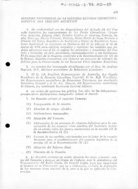 Chilean report of the second Special Antarctic Treaty Consultative Meeting, Canberra, and the informal consultations in Berne, 1979