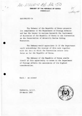 Notes concerning ratification of the Convention of the Conservation of Antarctic Marine Living Re...