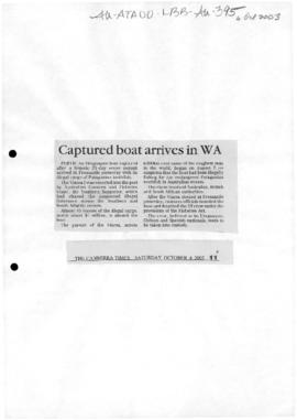 """Captured boat arrives in WA"" The Canberra Times and two subsequent letters to the editor"