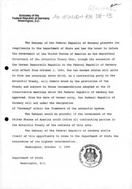 Federal Republic of Germany note the United States concerning the reunification of Germany, and U...