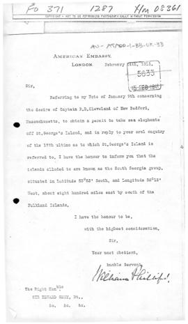 United States note concerning a licence to take sea elephants off South Georgia Island