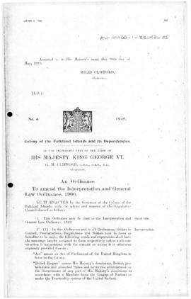 Falkland Islands Dependencies, Interpretation and General Law Ordinance, no 6 of 1949