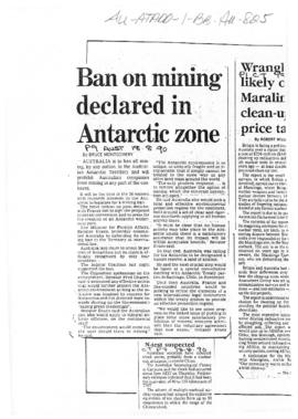 "Press article ""Ban on mining declared in Antarctic zone"" The Australian, and related articles"
