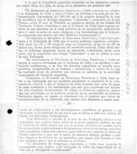 "Argentine note to Chile replying to Chilean reservations concerning the establishment of the Argentine Shelter ""Libertador"""