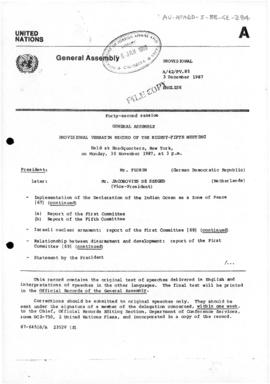 "United Nations General Assembly, Forty-second session, ""Provisional Verbatim Record of the Eighty-Fifth Meeting"" concerning the report of the First Committee on the Question of Antarctica (A/42/PV.85)"