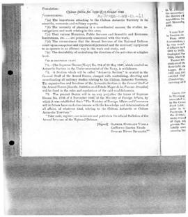 Decree no. 1,168 establishing the Antarctic section in the general staff of the armed forces