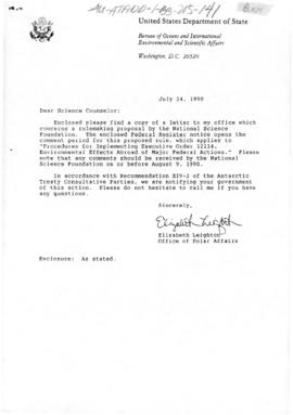 US Department of State, correspondence from the National Science Foundation concerning a rule-mak...