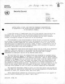 Argentine note to the United Nations Security Council informing of a British armed attack upon South Georgia Island (S/14999)