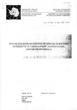 "Twenty-first Antarctic Treaty Consultative Meeting (Christchurch) Working paper 29 ""Manageme..."