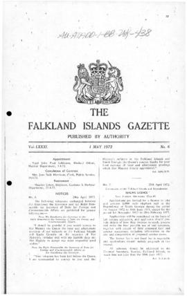 Falkland Islands Gazette, notice inviting applications for sealing licenses on South Georgia
