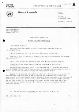 "United Nations General Assembly, Fortieth session, First Committee, ""Question of Antarctica: draft resolution"" (A/C.1/40/L.84). Includes related draft resolution from Mauritius (A/C.1/40/L.85)"